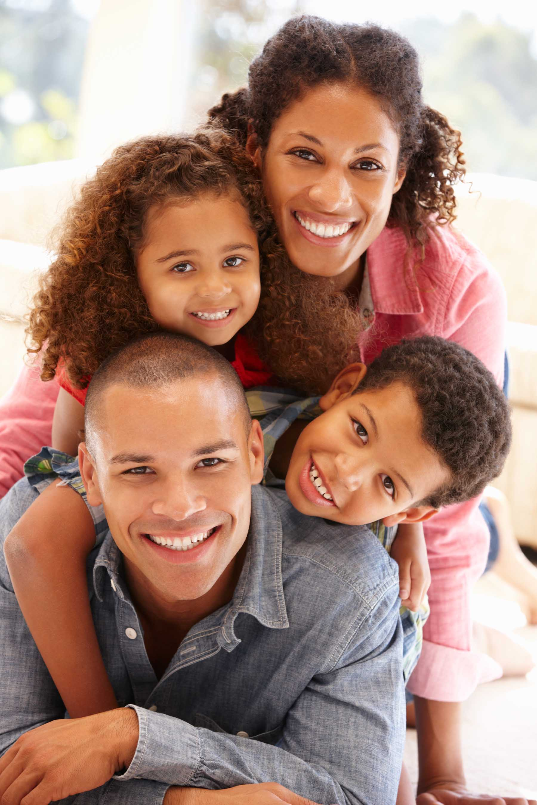 Mixed Race Family At Home